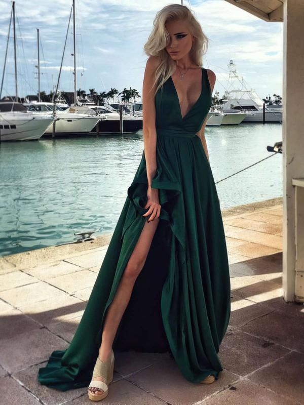 New Arrival A-line Silk-like Satin Split Front Sweep Train V-neck Prom Dresses #JCD020103570