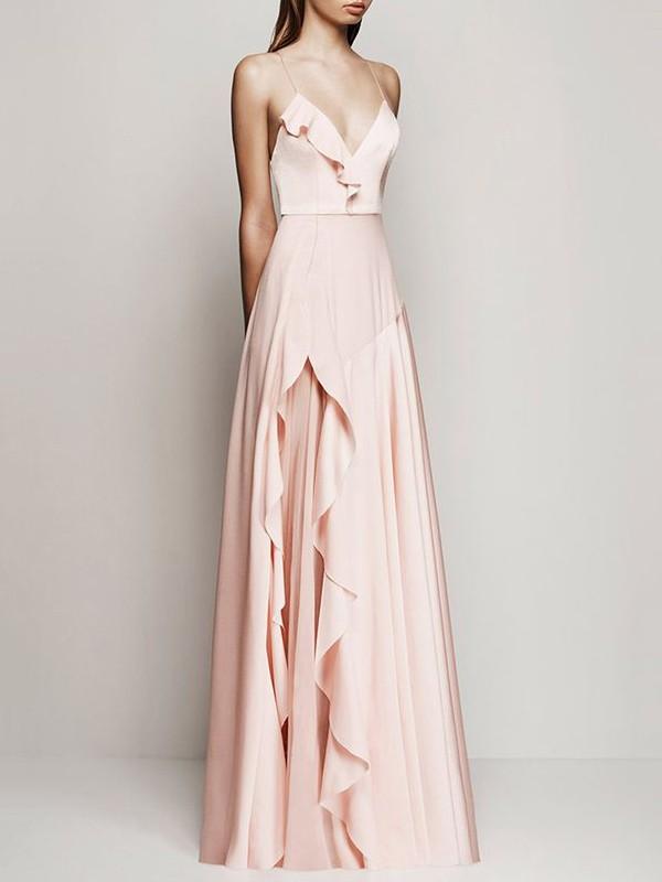 Glamorous A-line V-neck Chiffon with Ruffles Floor-length Prom Dresses #JCD020103573