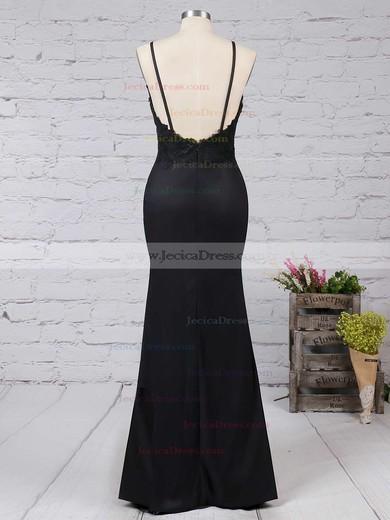 V-neck Sheath/Column Silk-like Satin Appliques Lace Floor-length Nice Black Prom Dresses #JCD020103574