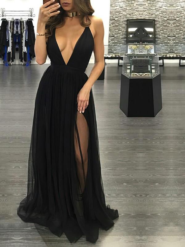 Black A-line V-neck Tulle Split Front Floor-length Hot Backless Prom Dresses #JCD020103576