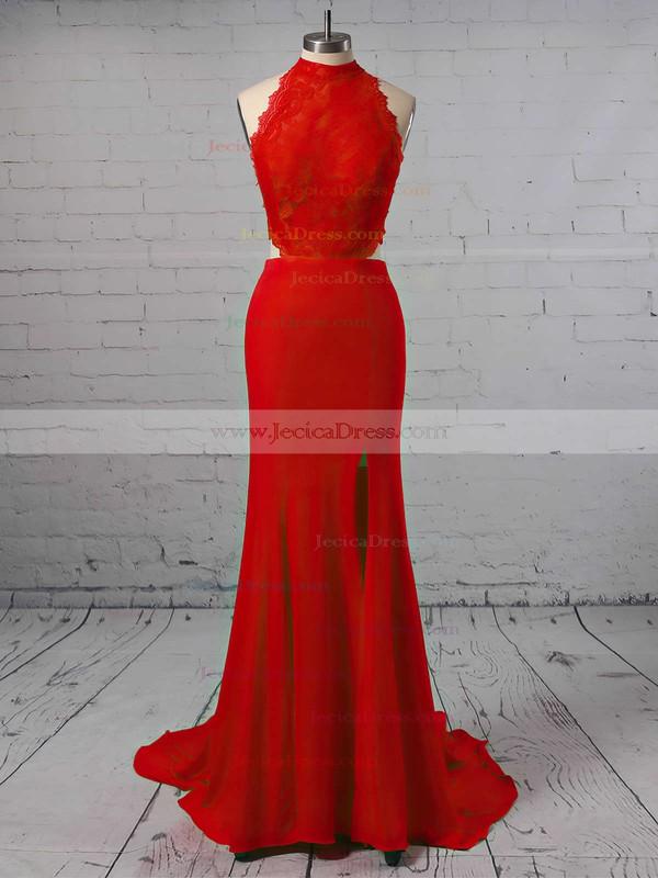 Stunning High Neck Sheath/Column Black Silk-like Satin Split Front Sweep Train Backless Prom Dresses #JCD020103577