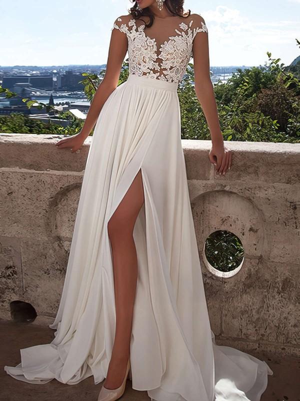 A-line Scoop Neck Tulle Chiffon Appliques Lace Sweep Train Cap Straps Fabulous Ivory Prom Dresses #JCD020103578