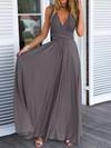 A-line V-neck Chiffon with Ruffles Floor-length Backless Informal Prom Dresses #JCD020103579