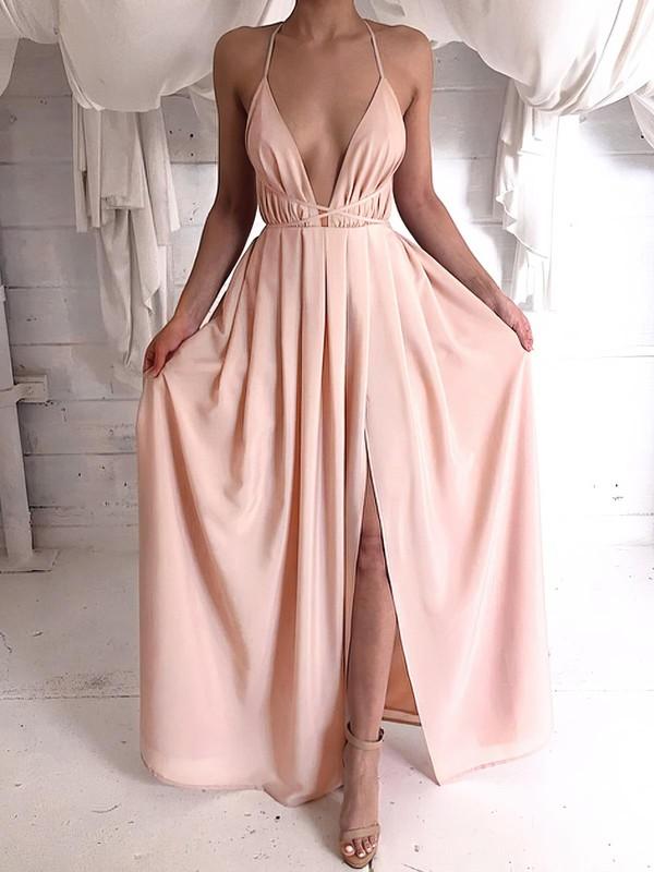 Hot Sheath/Column V-neck Chiffon Split Front Floor-length Backless Prom Dresses #JCD020103583