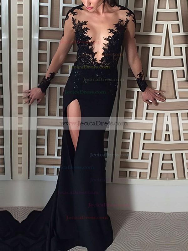 Sheath/Column Scoop Neck Tulle Silk-like Satin Appliques Lace Sweep Train Fashion Black Long Sleeve Prom Dresses #JCD020103587