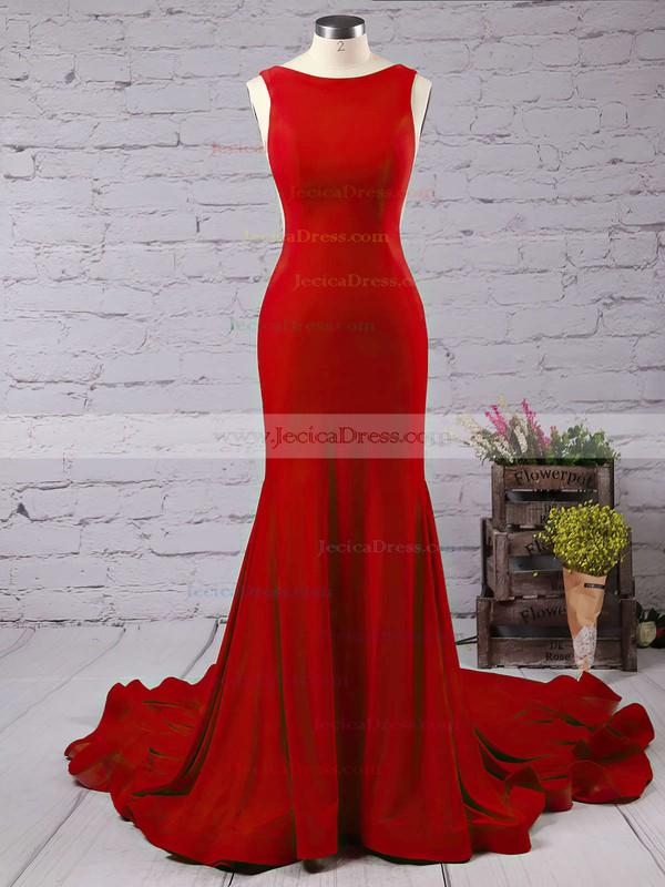 fdf66b442 Trumpet Mermaid Scoop Neck Jersey Ruffles Court Train Burgundy Backless New  Arrival Prom Dresses