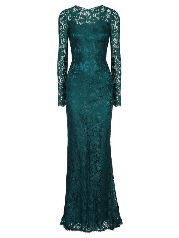 Graceful Scoop Neck Sheath/Column Lace Ruffles Floor-length Long Sleeve Prom Dresses #JCD020103592