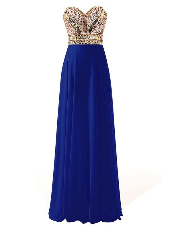 Royal Blue A-line Sweetheart Chiffon with Beading Floor-length Custom Backless Prom Dresses #JCD020103609