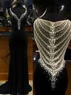 V-neck Sheath/Column Tulle Chiffon Split Front Sweep Train Fashion Black Prom Dresses #JCD020103624