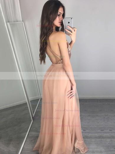 Hot A-line V-neck Tulle with Split Front Floor-length Backless Prom Dresses #JCD020103637