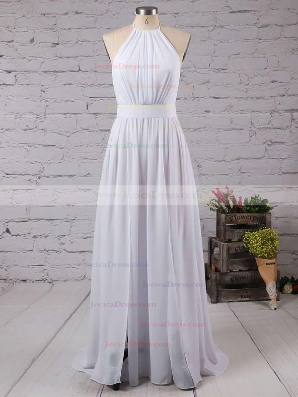 Halter A-line Chiffon Split Front Floor-length Summer Backless Prom Dresses #JCD020103638