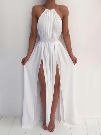 616ce29cca4 Halter A-line Chiffon Split Front Floor-length Summer Backless Prom Dresses   JCD020103638