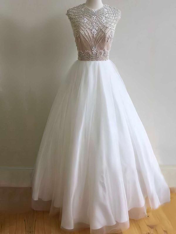 Elegant Ball Gown Scoop Neck Tulle with Beading Floor-length Open Back Prom Dresses #JCD020103640