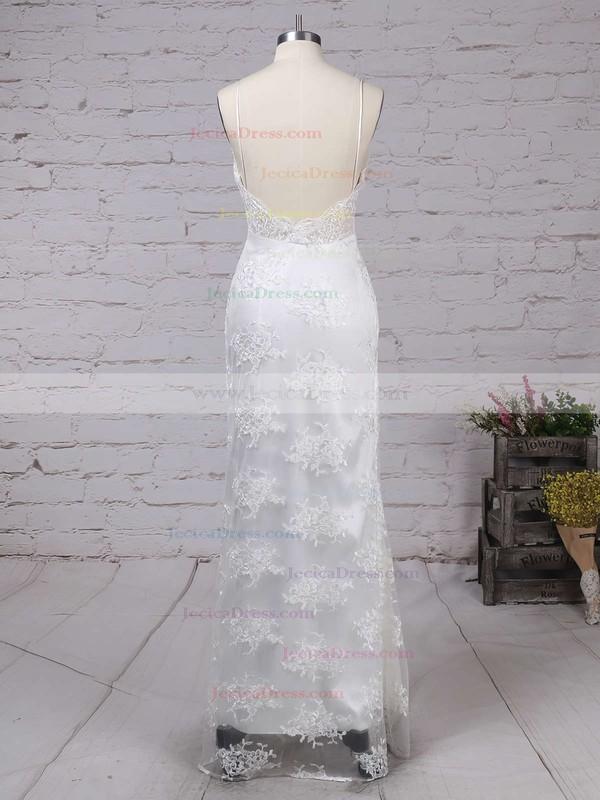 V-neck Sheath/Column Tulle Split Front Floor-length Sexy Backless Prom Dresses #JCD020103652