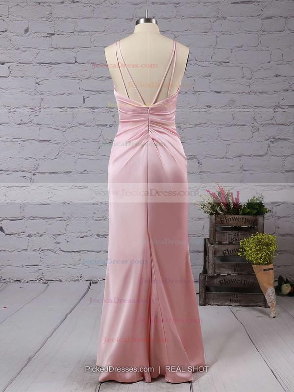 Sexy Backless V-neck Sheath/Column Silk-like Satin Split Front Floor-length Prom Dresses #JCD020103662