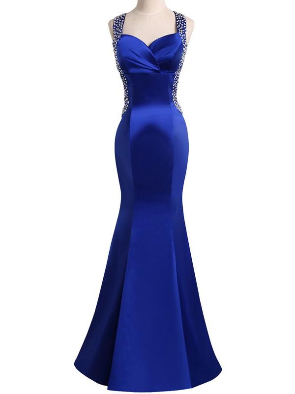 Elegant Trumpet/Mermaid V-neck Royal Blue Satin with Beading Floor-length Open Back Prom Dresses #JCD020103685