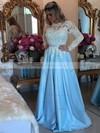 Elegant Royal Blue A-line Scoop Neck Satin Tulle Appliques Lace Floor-length Long Sleeve Prom Dresses #JCD020103719