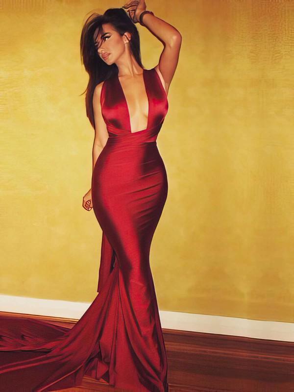 Hot V-neck Trumpet/Mermaid Ruffles Silk-like Satin Court Train Open Back Prom Dresses #JCD020103723