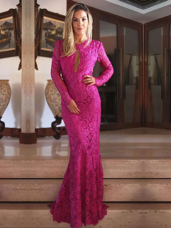 Scoop Neck Sheath/Column Ruffles Lace Sweep Train Popular Long Sleeve Open Back Prom Dresses #JCD020103729