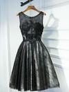 Original Black A-line Scoop Neck Lace with Appliques Lace Short/Mini Prom Dresses #JCD020103745