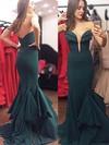 Ladies Trumpet/Mermaid V-neck Chiffon with Ruffles Sweep Train Backless Prom Dresses #JCD020103754