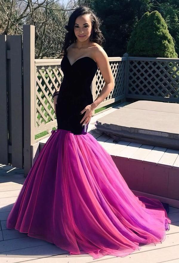 New Arrival Sweetheart Ruffles Tulle Sweep Train Trumpet/Mermaid Prom Dresses #JCD020103781