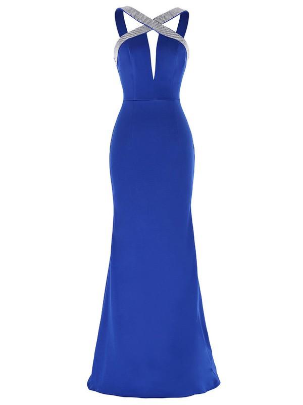 Custom V-neck Trumpet/Mermaid Silk-like Satin with Beading Floor-length Backless Prom Dresses #JCD020103782