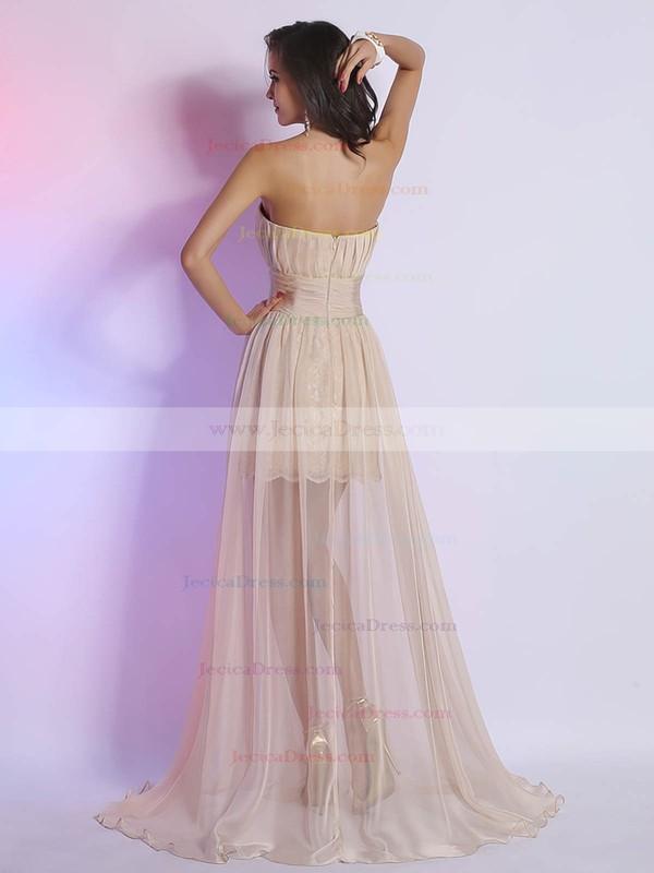 Modern A-line Lace Chiffon Split Front Strapless Prom Dress #JCD02023094