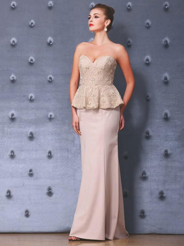 Lace Silk-like Satin Trumpet/Mermaid Sweetheart Floor-length with Beading Prom Dresses #JCD020103813