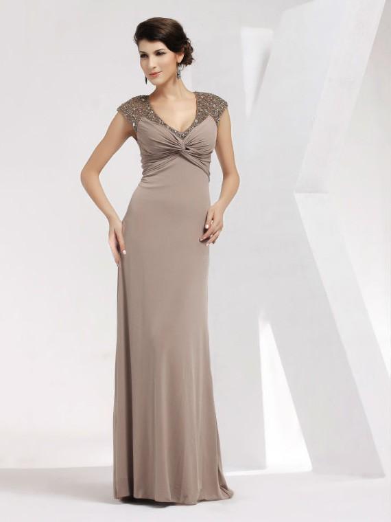 Chiffon Sheath/Column V-neck Floor-length with Criss Cross Prom Dresses #JCD020103819