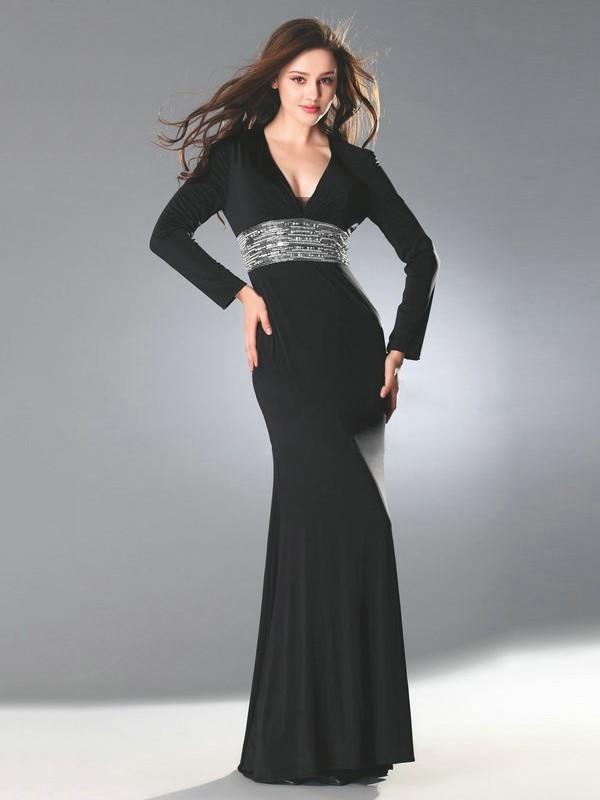 Tulle Chiffon Sheath/Column V-neck Floor-length with Beading Prom Dresses #JCD020103827