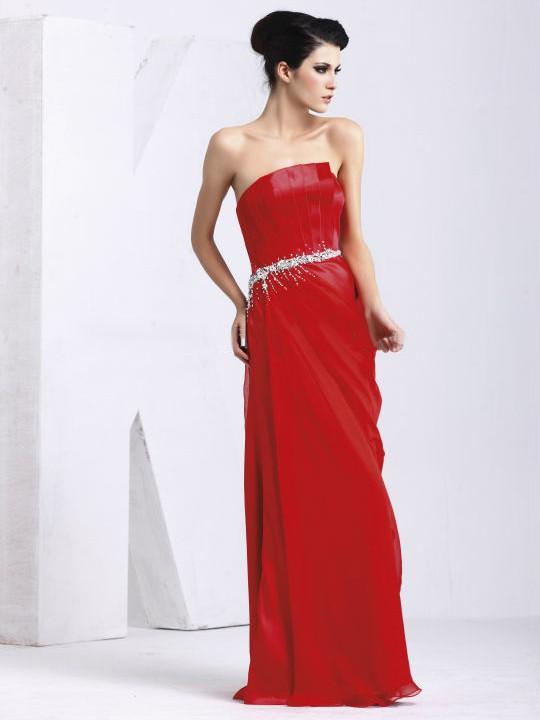 Satin Chiffon Sheath/Column Strapless Floor-length with Beading Prom Dresses #JCD020103830