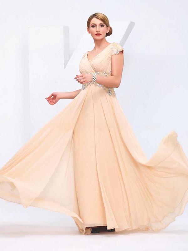 Chiffon A-line V-neck Floor-length with Beading Prom Dresses #JCD020103863