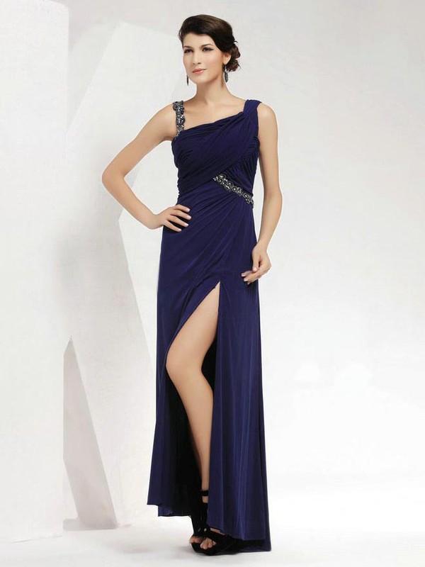 Chiffon Sheath/Column Square Neckline Floor-length with Split Front Prom Dresses #JCD020103961