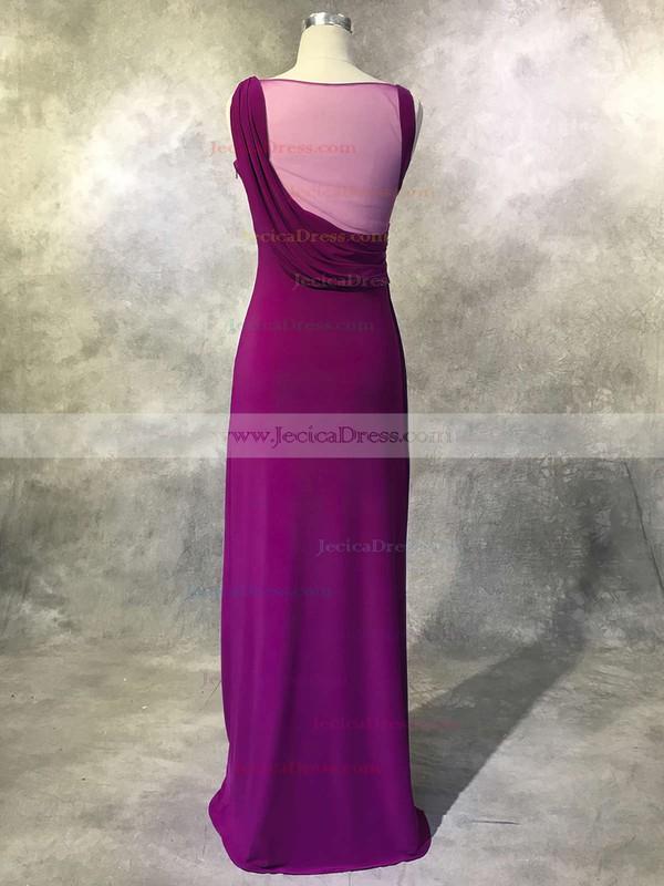 Tulle Chiffon Sheath/Column Scoop Neck Floor-length with Beading Prom Dresses #JCD020104121