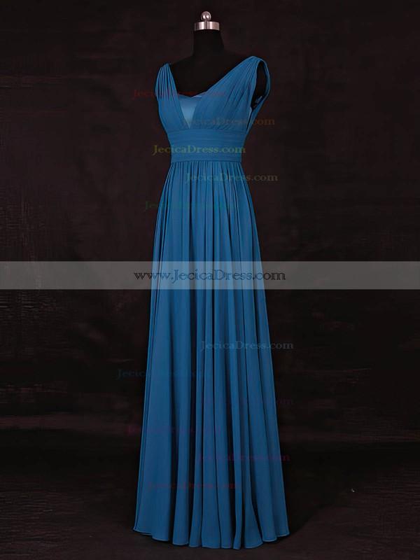 Chiffon A-line V-neck Floor-length with Ruffles Bridesmaid Dresses #JCD01013115