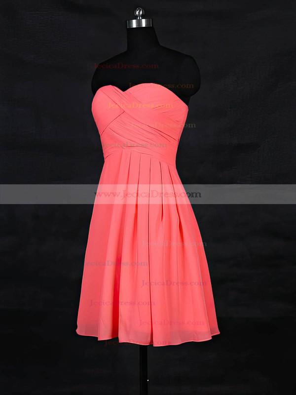 Chiffon A-line Sweetheart Short/Mini with Ruffles Bridesmaid Dresses #JCD01013117