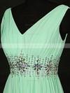 Chiffon A-line V-neck Floor-length with Beading Bridesmaid Dresses #JCD01013119