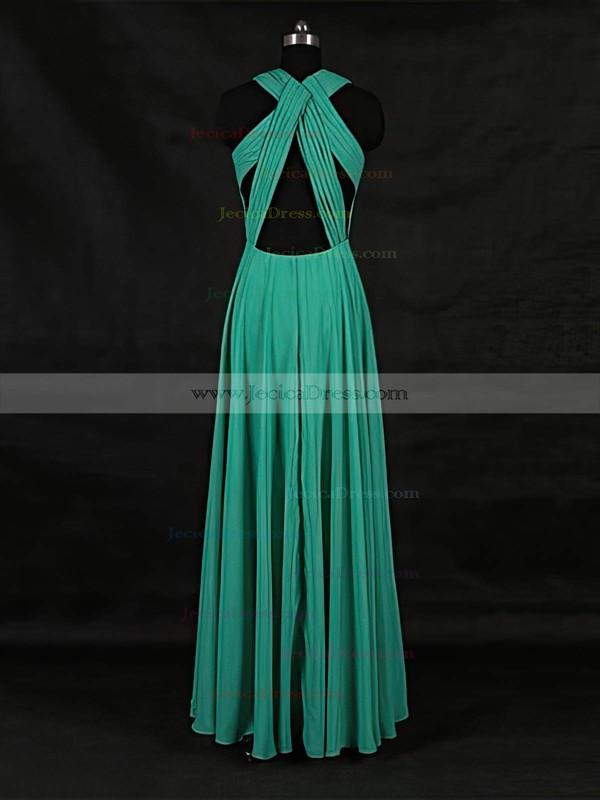 Chiffon A-line V-neck Floor-length with Ruffles Bridesmaid Dresses #JCD01013124