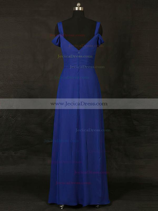 Chiffon A-line V-neck Floor-length with Ruffles Bridesmaid Dresses #JCD01013127