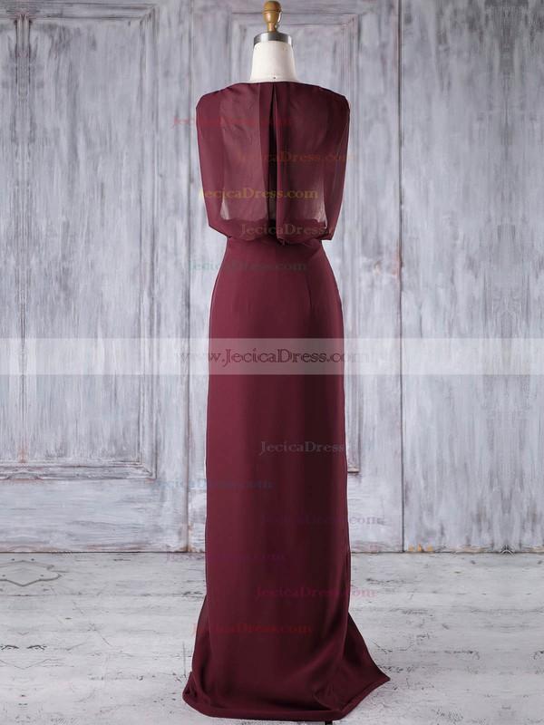 Lace Chiffon Sheath/Column V-neck Floor-length with Split Front Bridesmaid Dresses #JCD01013186