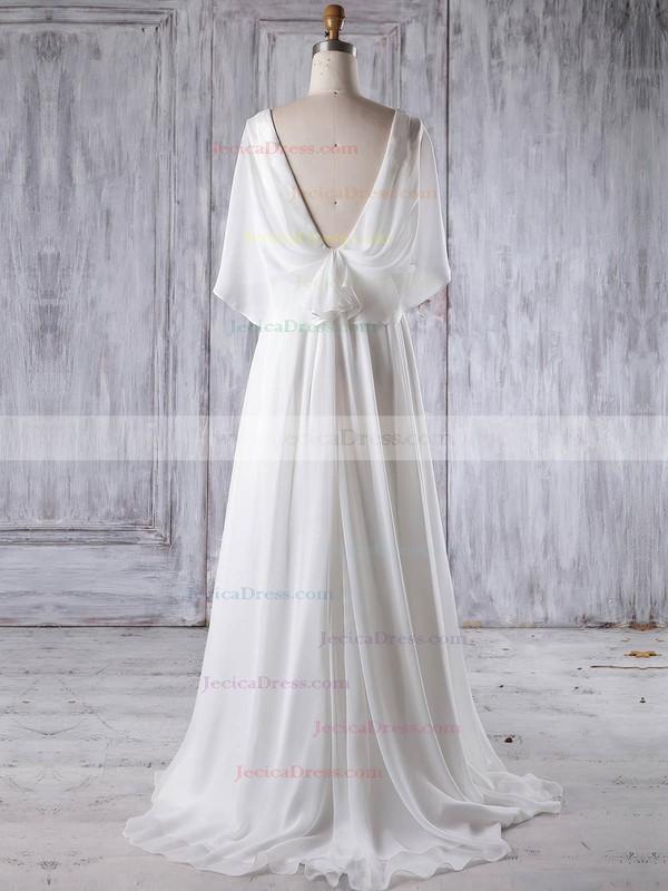 Chiffon A-line V-neck Sweep Train with Ruffles Bridesmaid Dresses #JCD01013193