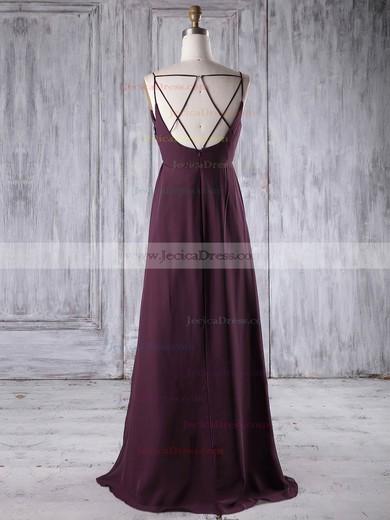 Chiffon Empire V-neck Floor-length with Ruffles Bridesmaid Dresses #JCD01013196