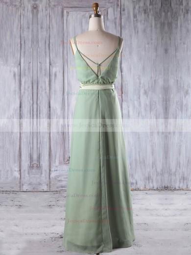Chiffon A-line V-neck Floor-length with Sashes / Ribbons Bridesmaid Dresses #JCD01013197