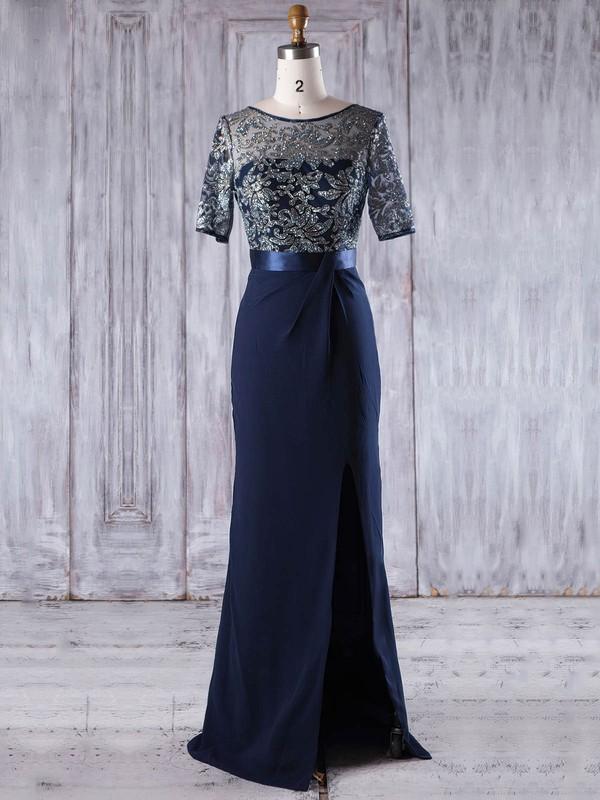 Chiffon Tulle Sheath/Column Scoop Neck Floor-length with Split Front Bridesmaid Dresses #JCD01013203