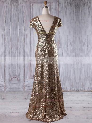 Sequined Sheath/Column V-neck Floor-length with Ruffles Bridesmaid Dresses #JCD01013204