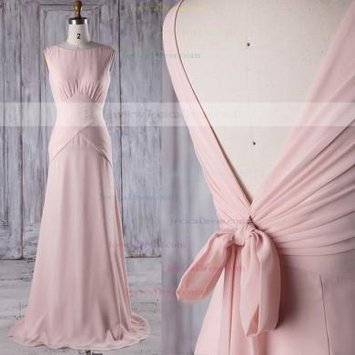Chiffon Sheath/Column Scoop Neck Sweep Train with Ruffles Bridesmaid Dresses #JCD01013206