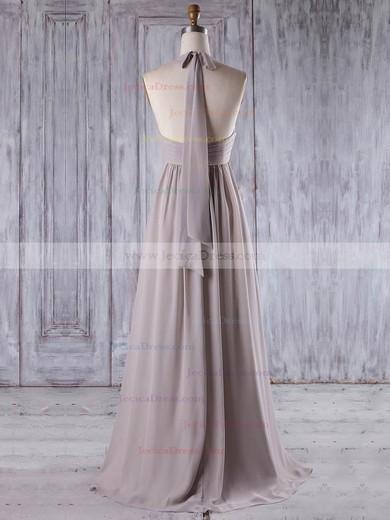 Chiffon Empire Halter Floor-length with Ruffles Bridesmaid Dresses #JCD01013207
