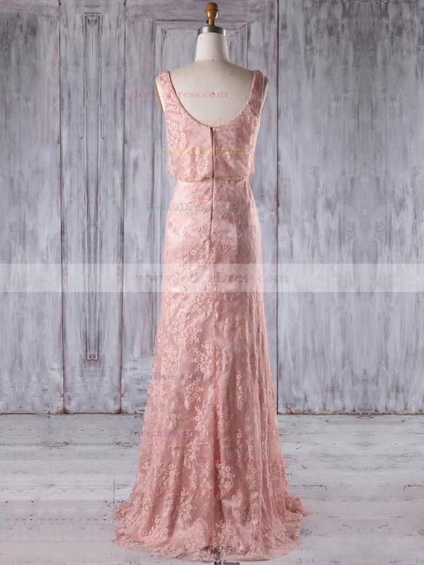 Lace Sheath/Column Scoop Neck Floor-length with Ruffles Bridesmaid Dresses #JCD01013233