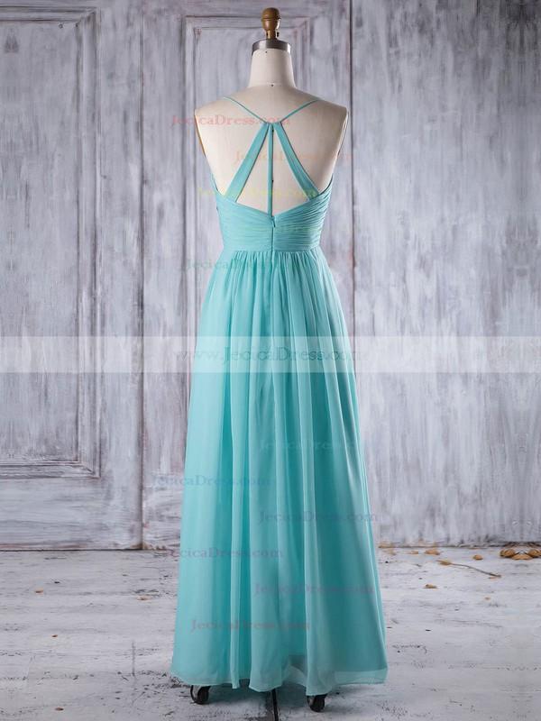 Chiffon A-line V-neck Floor-length with Ruffles Bridesmaid Dresses #JCD01013241